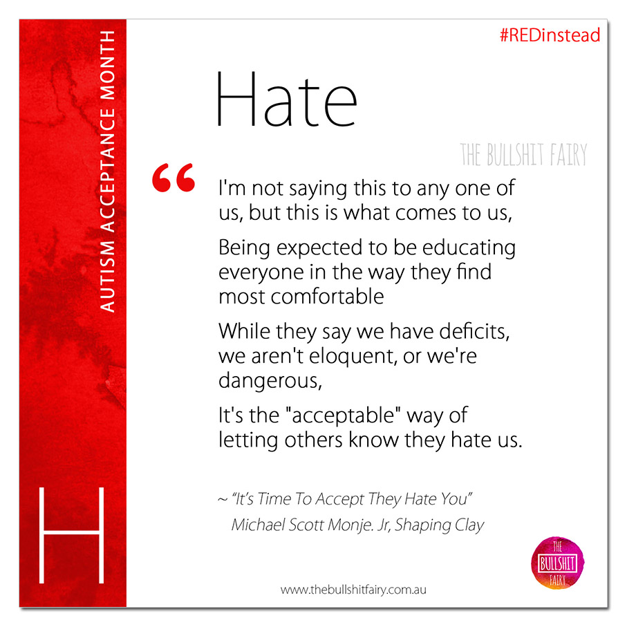 H is for Hate - Autism Acceptance Month